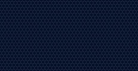 Fototapeta Subtle minimal ornament pattern. Vector geometric seamless texture with delicate grid, thin linear shapes, tiny diamonds, hexagonal grid. Abstract dark blue graphic background. Minimalist geo design