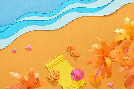 top view of paper cut beach