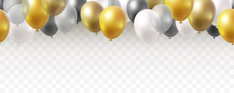 Balloon seamless border isolated on transparent background. Vector realistic gold, golden bronze, silver, white and black festive 3d helium baloons banner for anniversary, birthday party design