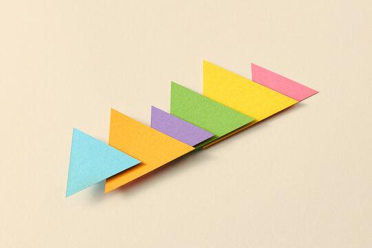 Handcraft multicolored triangular charts.