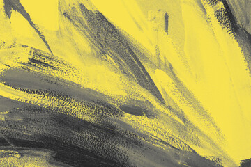 Trendy yellow and gray abstract art color texture background with traces, brushstrokes and spots of paint. Year color concept
