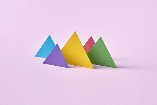 Handmade colorful vertical standing triangulars.