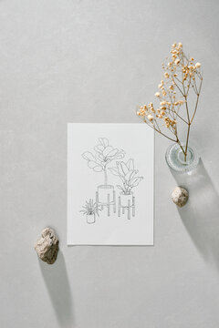 Sketch paper with hand-drawn tree pots
