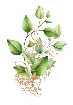 watercolor floral illustration isolated on white background. Bouquet of plants, eucalyptus, olives, trees, branches, gold elements and paint splashes. Hand draw Trendy template for print
