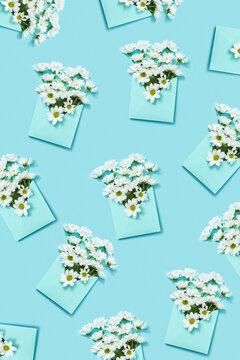 White flowers in an envelopes pattern.