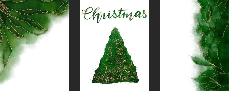 Set of abstract poster handmade green watercolor background. Silhouette of Christmas tree isolated on a white background. Christmas lettering. Golden shiny veins and cracked marble texture.