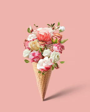 Waffle cone with beautiful flowers.