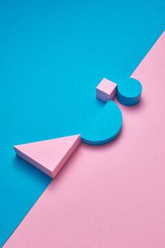 Geometric colorful three-dimensional figures.