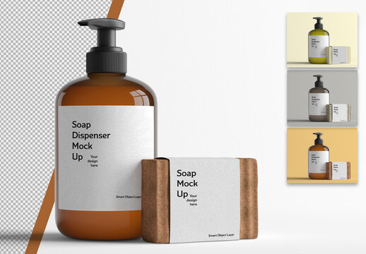 Mockup of a Cosmetic Bottle and Soap