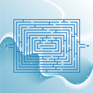 Maze game for children and adults. Need to get through the labyrinth. Winter holidays background.