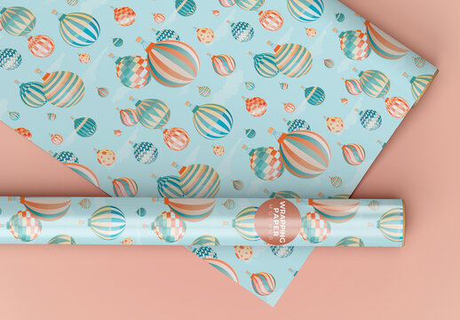 Gift Wrapping Paper Mockup, One Rolled and the Other Stretched