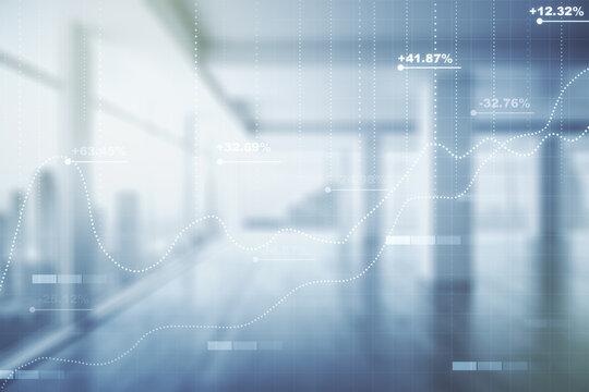 Abstract virtual analytics data spreadsheet on modern interior background, analytics and analysis concept. Multiexposure