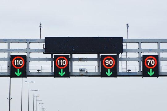 Speed limit signs - 70 km/h, 90 km/h, 110 km/h