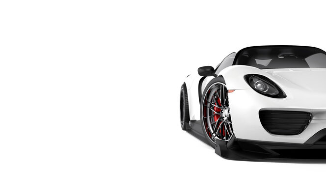 White generic sport car isolated on a white background