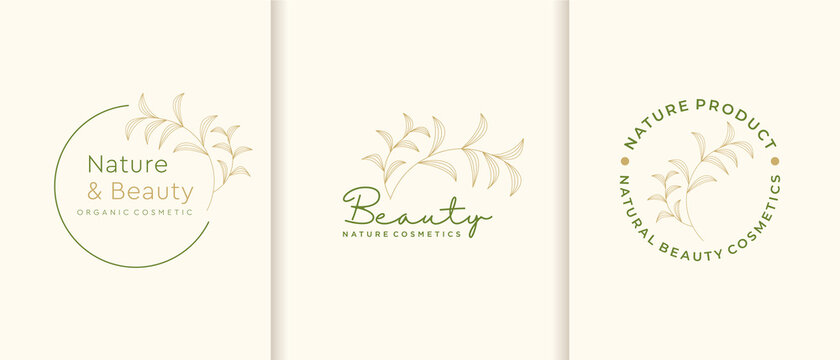 Nature cosmetics logo collection. beauty,skin care,luxury ,fashion, minimalist,leaf,essential,frame,vector illustration template. premium vector