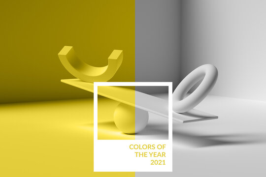 2021 color illuminating yellow background, trendy color of the year