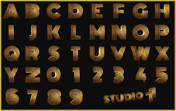 Studio 77 gold disco Alphabet - 3D Illustration