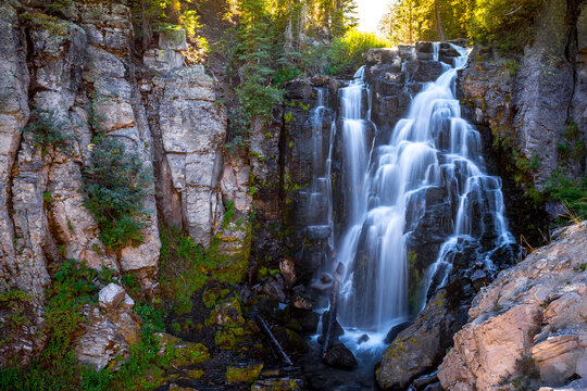 Sunset on Kings Creek Falls, Lassen National Park, California
