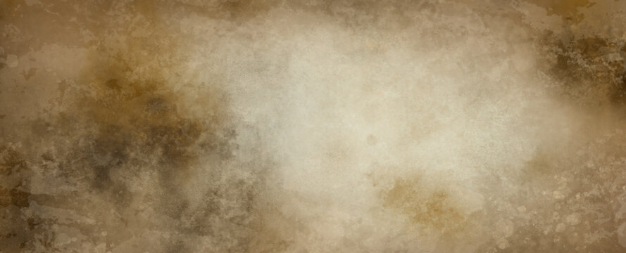 Old white paper background illustration with soft vintage or antique distressed texture on borders in light pale brown or beige color with blank center, plain simple elegant off white background