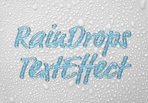 Raindrops Text Effect Mockup