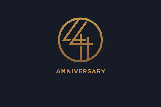 Number 44 logo, gold line circle with number inside, usable for anniversary and invitation, golden number design template, vector illustration