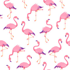 Pink flamingos pattern. Cute tropical birds, seamless flamingo hawaii texture bird repeat print decor wallpaper
