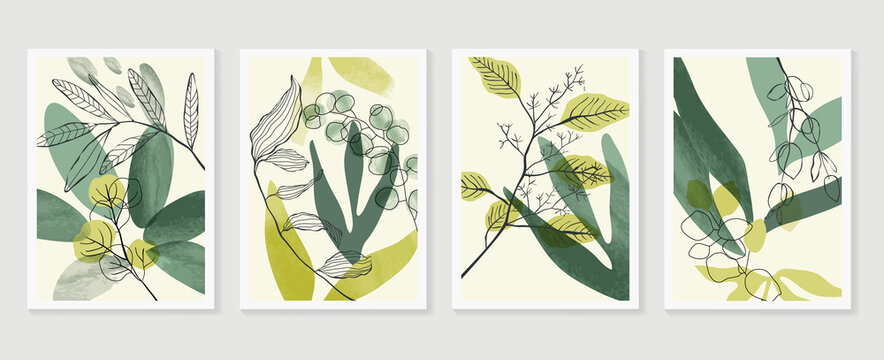 Botanical wall art vector set. Water color boho foliage line art drawing with  abstract shape.  Abstract Plant Art design for print, cover, wallpaper, Minimal and  natural wall art.