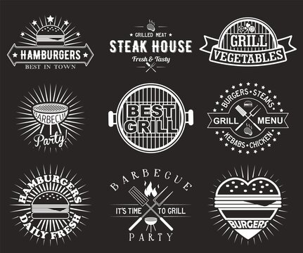 White bbq grill logo, label, badge, emblem set, vector illustration. Barbecue party, steak house vintage logos. Fresh and tasty hamburgers, steaks, kebabs, chicken. Grilled meat and vegetables.