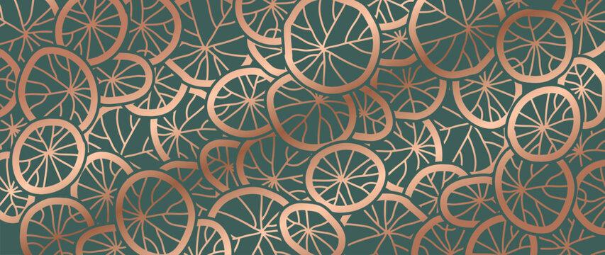 Luxury gold lotus leaves background vector. Tropical leaf wallpaper design.