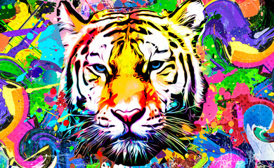 Obraz tiger head illustration with splash - fototapety do salonu