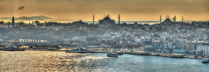 Wall Mural - Istanbul and the Bosphorus skyline, HDR Image