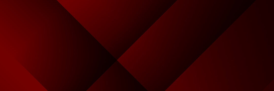 Dark red and black stripes abstract banner design. Geometric tech vector background for wide banner