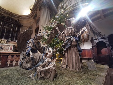 nativity statues in church made in papier mache