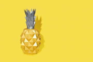 Summer design background with shape of pineapple out of paper. Trend color of 2021, illiminating yellow and ultimate gray.