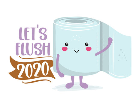 Let's flush 2020 - Funny toilet paper in kawaii style. Coronavirus covid-19 funny character Xmas greeting cards, invitations. For ugly Christmas sweaters, t-shirt, mug, gift, holiday. 2021 new year.