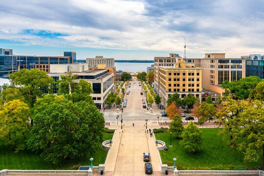Madison City street view in Wisconsin of USA