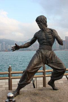 HONG KONG, MARCH 22, 2012: Statue of Bruce Lee on Avenue of Stars in Tsim Sha Tsui, Kowloon, Hong Kong.