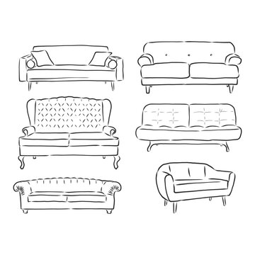 set of sofas drawings sketch style, vector illustration. sofa vector sketch illustration