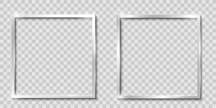 Frames isolated, realistic square metal,silver frames mockup, vector set