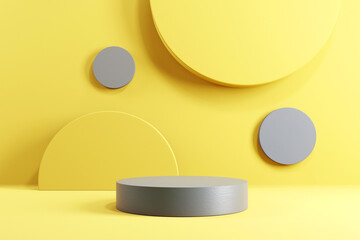 Abstract minimal scene with geometric forms. Cylinder podium stage in yellow and grey backgrounds. for show product presentation 2021, mock up, 3d render. - fototapety na wymiar