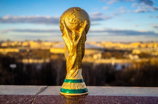 April 13, 2018 Moscow, Russia Trophy of the FIFA World Cup against the backdrop of the Luzhniki stadium in Moscow.