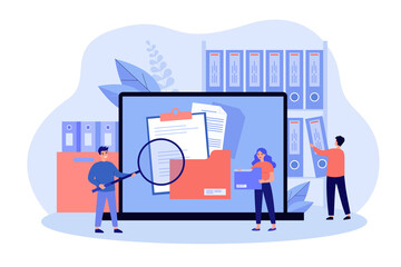 Obraz People taking documents from shelves, using magnifying glass and searching files in electronic database. Vector illustration for archive, information storage concept - fototapety do salonu