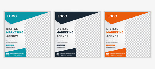 Fototapeta Business promotion and creative marketing agency social media post banner template