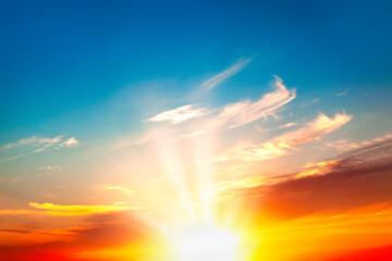 Fototapeta Sunrise rays on the morning sky