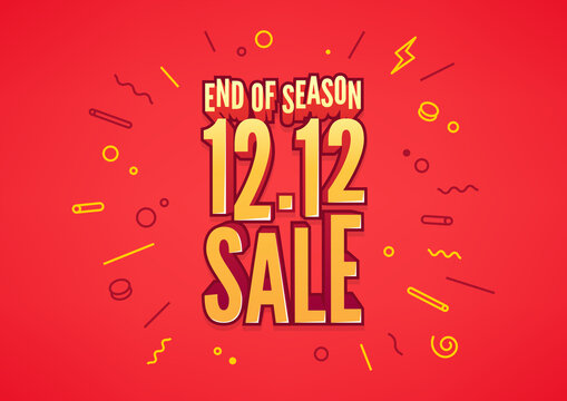 End of season 12.12 Shopping day sale poster or flyer design. 12.12 online sale.