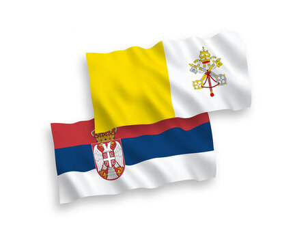 Flags of Vatican and Serbia on a white background