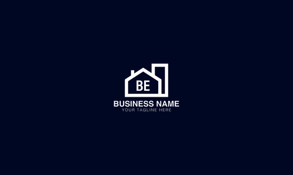 BE B  E initial creative logo with home vector template image. Real estate logo vector
