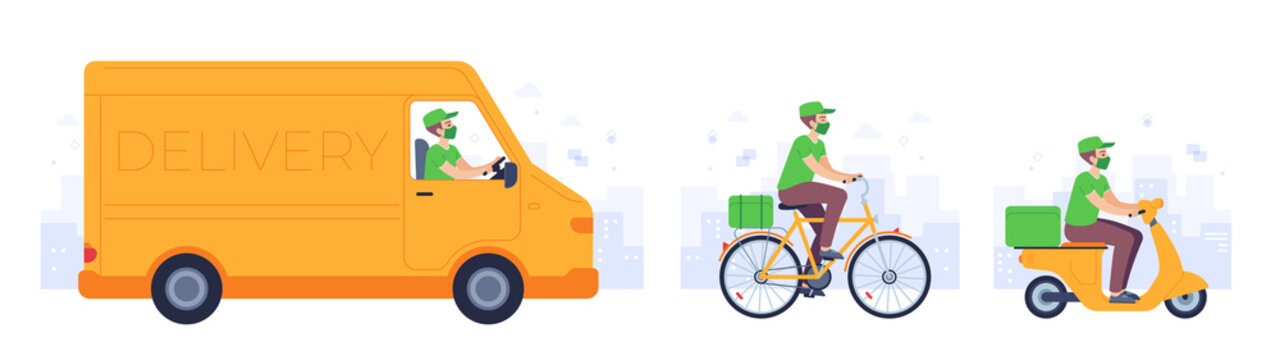 Food delivery transport. Courier in mask deliver goods drive truck, bike and motorcycle. Covid safe shipping service to home, vector concept