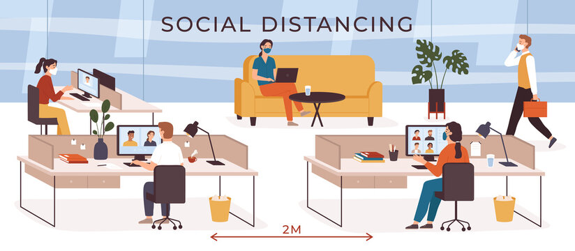 Social distancing in office. Business people with safety masks working at workplace. Video conference. Keep distance at job vector concept