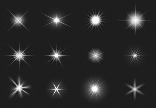 Flares and sparkling stars effect. White light burst, shiny glare. Magic starburst, realistic glow set
